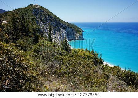 Amazing view of Blue Waters of Milos Beach, Lefkada, Ionian Islands, Greece