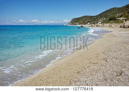 Stones over the sand of Katisma Beach, Lefkada, Ionian Islands, Greece