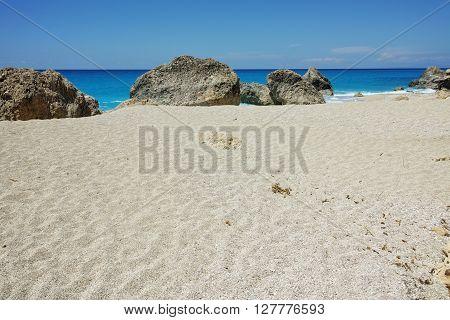 Rocks in the water at Megali Petra beach, Lefkada, Ionian Islands, Greece
