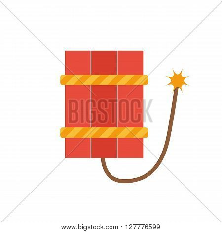 Vector illustration with isolated flat red dynamite on white background. Dangerous terrorism sign. Isolated cartoon dynamite. Pyrotechnics concept. Stop terrorism background