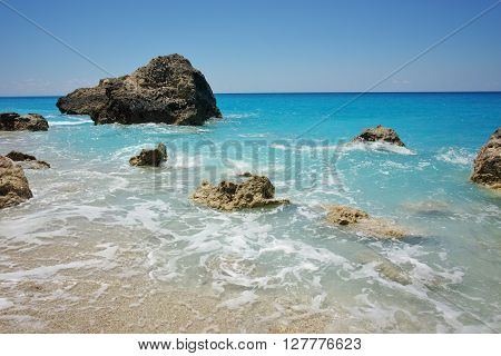 Rocks at Megali Petra beach, Lefkada, Ionian Islands, Greece