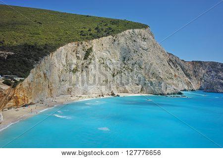 Amazing Panorama of Porto Katsiki Beach, Lefkada, Ionian Islands, Greece