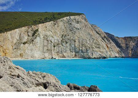 Blue waters of Porto Katsiki Beach, Lefkada, Ionian Islands, Greece