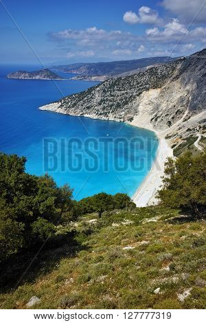 Panorama of Myrtos beach, Kefalonia, Ionian islands, Greece