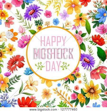 illustration of colorful Happy Mother's Day card with colorful flower