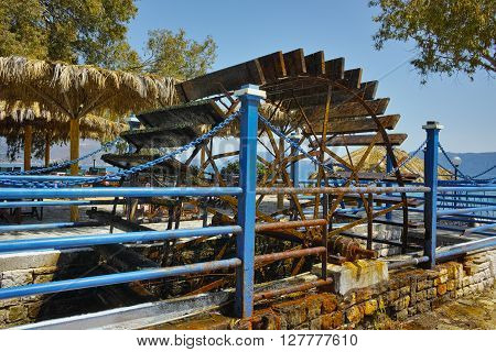 water wheel at the Beach in village of Karavomilos, Kefalonia, Ionian islands, Greece