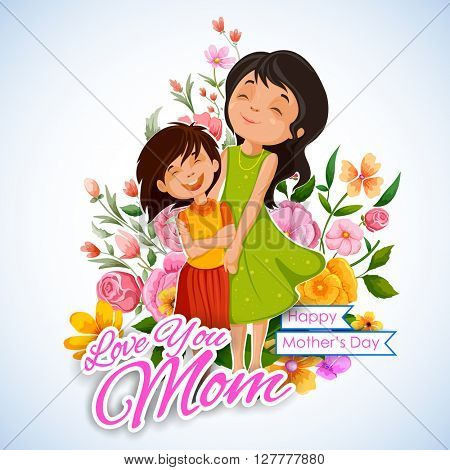 illustration of mother and daughter in Mother's Day Card