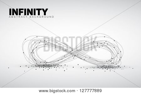Abstract black and white vector background made from points and circles. Abstract Geometry. Geometrical abstract infinity shape.