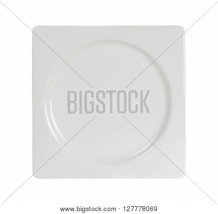 Empty Square Plate Isolated On White Background