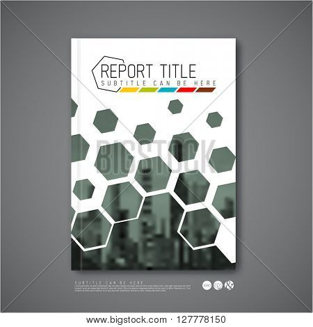 Modern Vector abstract brochure / book / flyer design template with hexagons