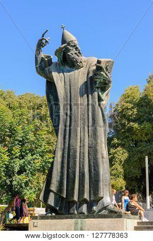SPLIT CROATIA - SEPTEMBER 2 2009: Monumental bronze statue of Bishop Gregory of Nin created in 1929 by Ivan Mestrovic