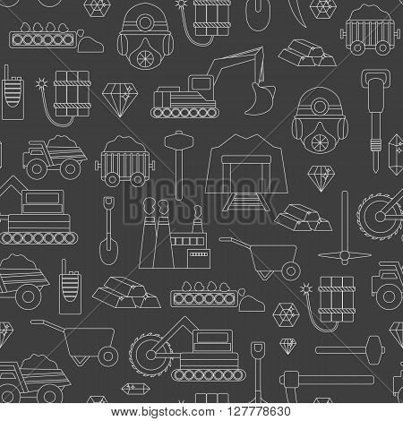 Vector background with mining objects. Cute line mining seamless background. Industrial mining equipment metallurgy factory. Coal mining icons. Mineral diamond gold factory. Mining tools machinery