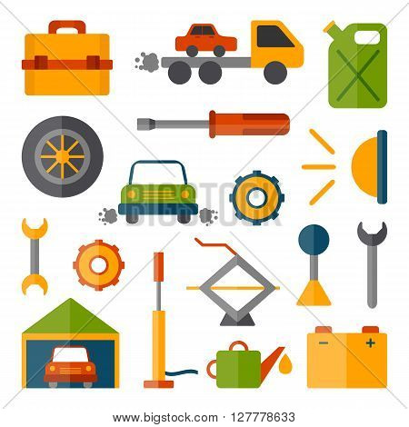 Vector car repair icons. Cartoon cute objects for car repair design. Car service or garage concept. Equipment tools objects for break car work. Vector cartoon car repair illustration