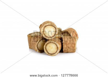 Sliced Burdock Roots Isolated On The White