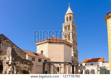 St. Domnius cathedral (Diocletian's mausoleum) and bell tower in Split Croatia