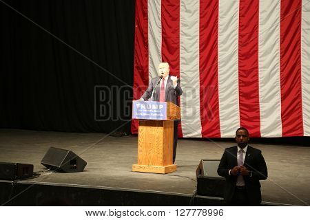 Costa Mesa CA, April 28, 2016: Republican presidential candidate Donald Trump speaks at campaign event in Costa Mesa California to Thousands of Supporters.