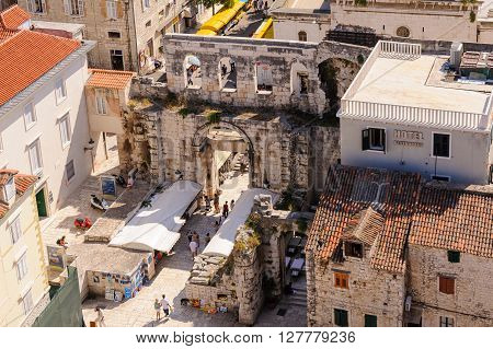 SPLIT CROATIA - SEPTEMBER 2 2009: Silver Gate (Porta Argentea) on the east side of Diocletian's Palace as viewed from the bell tower