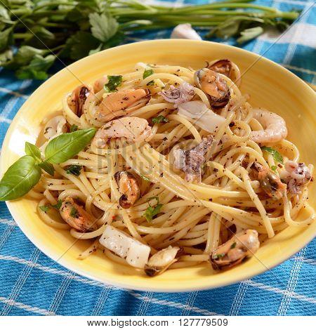 Spaghetti Pasta With Seafood
