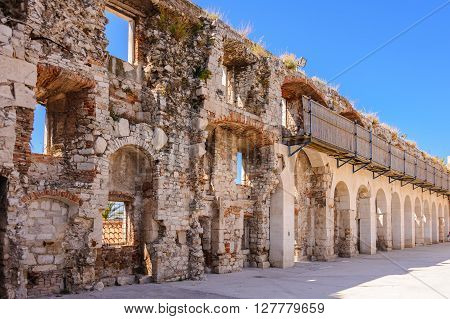 South city walls above the Bronze gate (Porta Aenea) of Diocletian's palace in Split Croatia