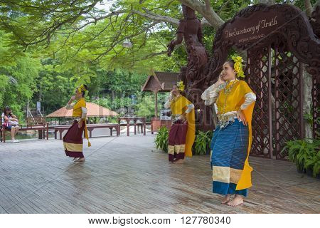 Pattaya, Thailand - September 14: Traditional performance of the actors at the temple of truth, on 14 September 2014.