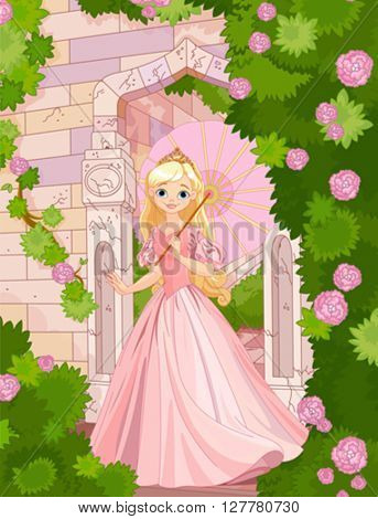 Illustration of beautiful princess at summer day under umbrella