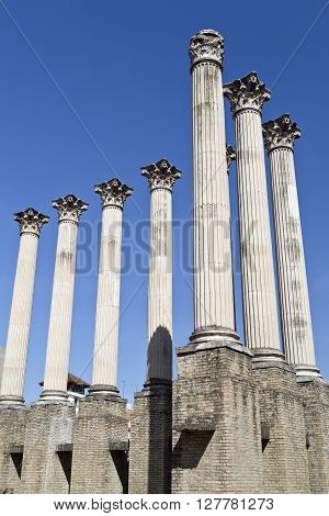 Columns of the Corinthian order roman temple in Cordoba Spain ** Note: Visible grain at 100%, best at smaller sizes