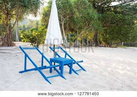 image sunbed and umbrella on tropical beach
