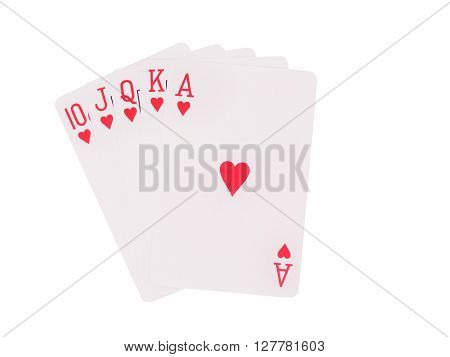 Royal flush cards isolated on white background. casino concept