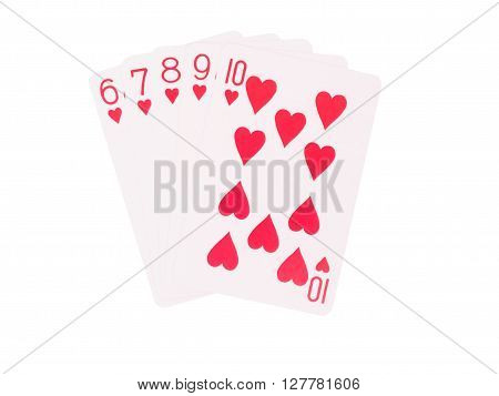 Straight Flush cards isolated on white background. casino concept