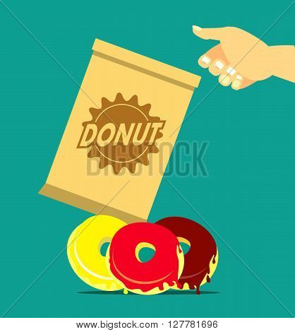 vector illustration of a human hand reaching for a bag of donuts