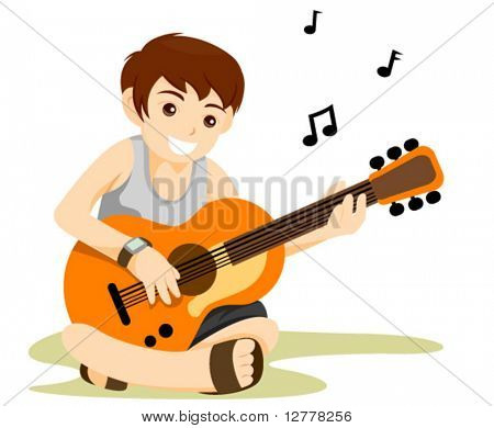 Playing Guitar - Vector