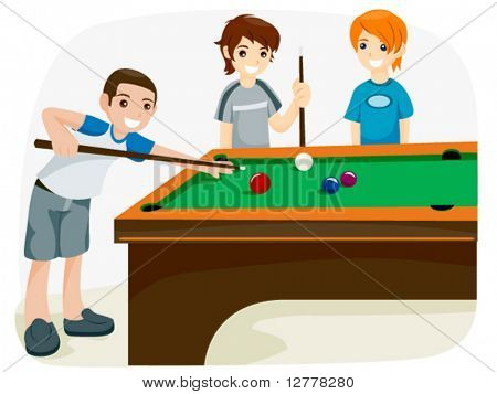 Playing Billiards - Vector