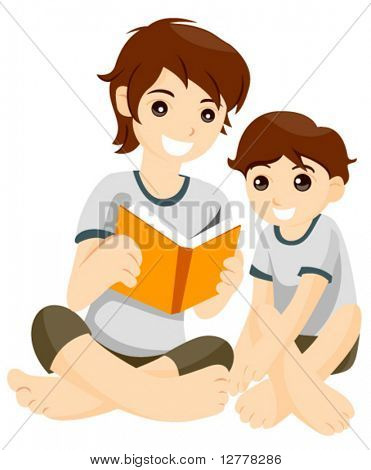 Big Brother reading to Younger Brother - Vector