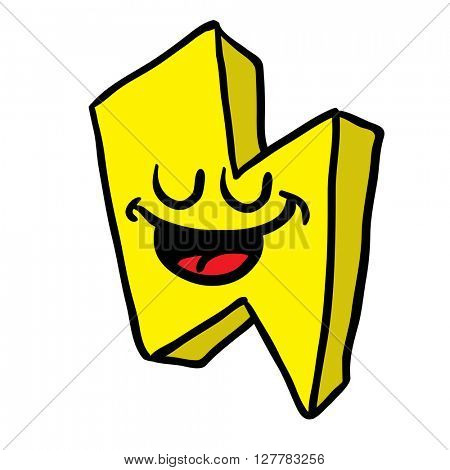 happy thunderbolt cartoon illustration isolated on white