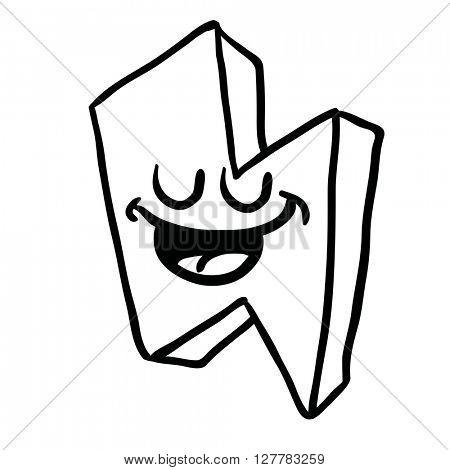 black and white happy thunderbolt cartoon illustration