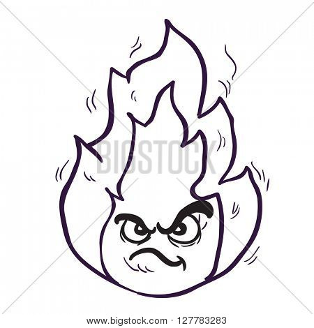 black and white angry freehand drawn cartoon illustration fire