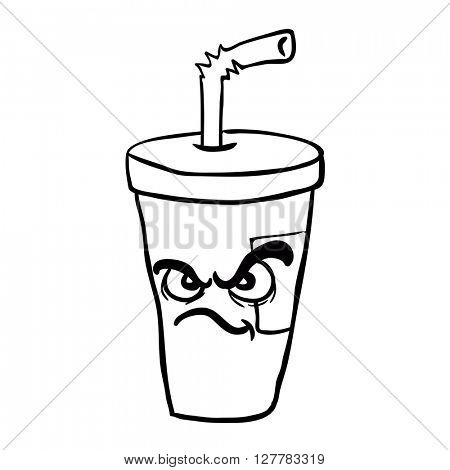 black and white angry  freehand drawn cartoon illustration soda
