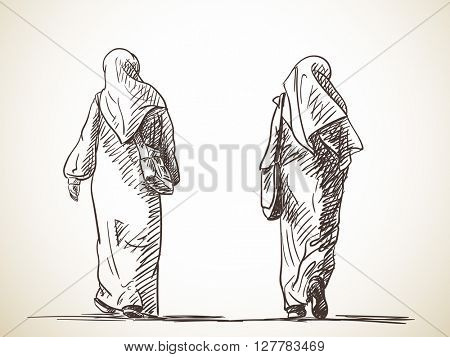 Sketch of two muslim women walking Back view Hand drawn illustration