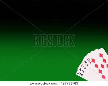 Straight  cards on the poker table. casino concept