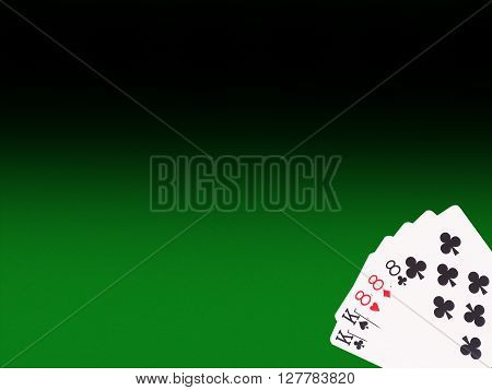 Full House cards on the poker table. casino concept