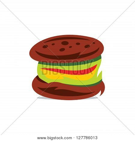 Fast Food Bun with meat and salad Isolated on a White Background