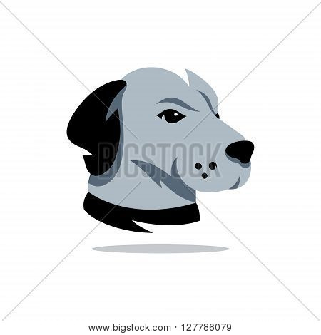 Vector silhouette of the Head Rhodesian Isolated on a White Background