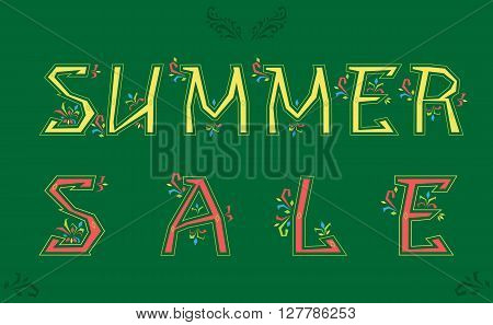 Inscription Summer Sale. Delicate letters with floral pattern. Vector Illustration