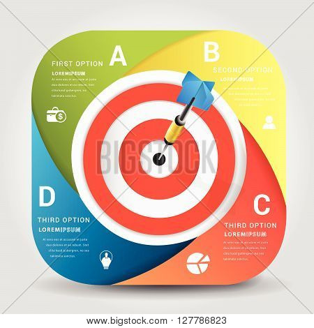 Dart board with arrow infographic .business concept