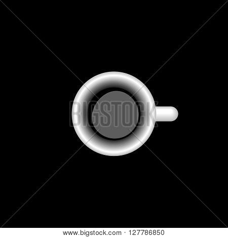 Italian Espresso Cup. Vector Illustration Of A Italian Espresso Cup on Black Background