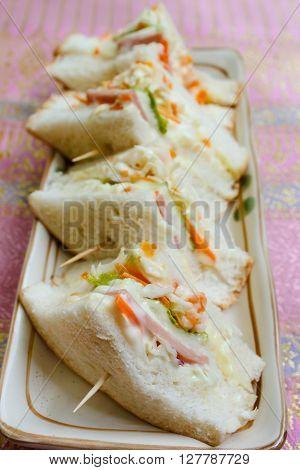 homemade sandwich with ham thai food style.