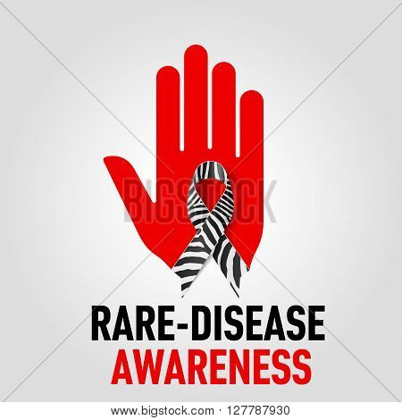 Rare-Disease Awareness sign sign. Red hand with zebra-print ribbon on grey background