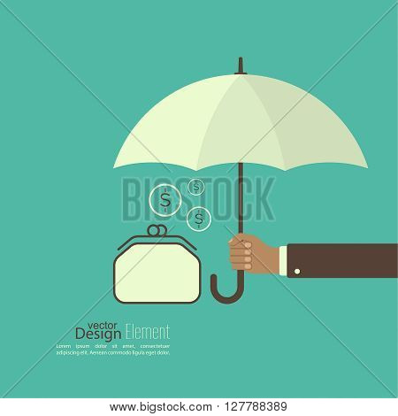 Male hand holding an umbrella. Protection of money, personal funds, bank deposits. Wallet