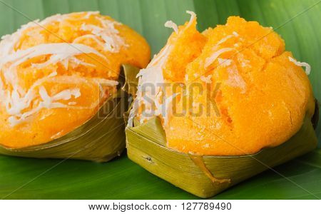 Traditional dessert of Thailand on green leaf
