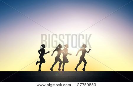 fitness, sport, people and healthy lifestyle concept - happy young sports woman running outdoors